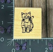 Stampin Up Small Kitten Cat Rubber Stamp Tabby Pet Sitting Wood Mount #AA98