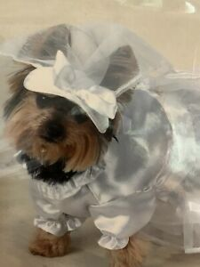Casual Canine Dog Costume Size Small Wedding Dress and Veil
