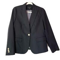 Talbots Womens Blazer Size 8 NWT Black Gold Button