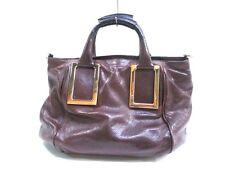 Authentic Chloe Dark Brown Black Ethel Leather Handbag w/ Shoulder Strap