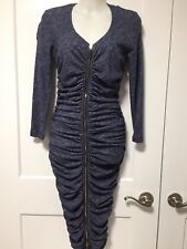 NWT GIANFRANCO FERRE Cotton Wool Blend gray navy zip front, LS dress,SZ 44 USA 8