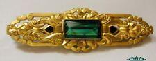 Art Nouveau Style Gold Plated Green CZ Enamel Brooch