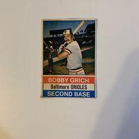 1976 Hostess Bobby Grich # 13 Baltimore Orioles MLB Baseball Card Hand Cut Bob