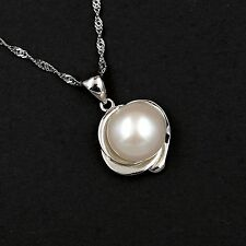 "10 m White Freshwater Pearl 925 Sterling Silver Pendant 18"" Chain Necklace 00263"