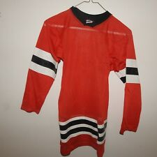 Old Style Blank Chicago Blackhawks Hockey Jersey Youth 30-32 Made in Usa