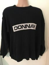 Donnay Knit Knitted Crew Neck Jumper Sweatshirt Large Navy Logo Wavy Festival