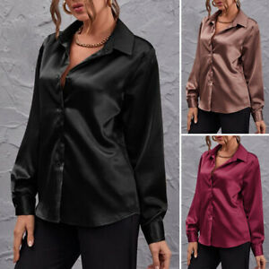 UK Ladies Satin Look Button Tops Blouse Long Sleeve Party Work Shirt Womens 8-24