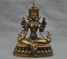 Old Tibet Tibetan Green Tara Buddha Pure Bronze Statue