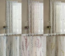 WILLOW VOILE NET CURTAIN PANEL SHEER WHITE FLORAL PRINT GREY GLITTER SPARKLE