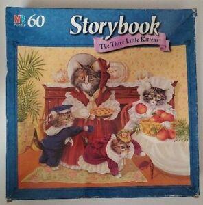 Milton Bradley 60 Piece Storybook Jigsaw Puzzle The Three Little Kittens NEW