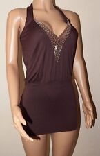 VICKY MARTIN brown bodycon sequin cleavage halter plunge mini dress BNWT 8 10
