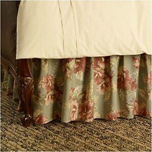 New $130 Ralph Lauren SHETLAND MANOR Floral Bed Skirt Bedskirt ~Sage Green QUEEN