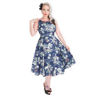 Hearts & Roses London Blue Floral Bird Vintage Retro 1950s Flared Tea Dress