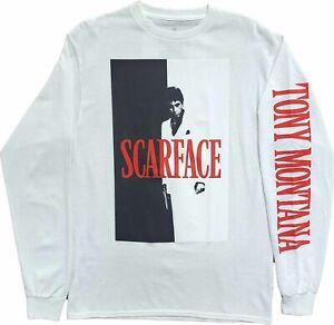 New Mens Scarface Movie Tony Montana Vintage Retro 80s White Long Sleeve T-Shirt