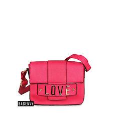 Bag Envy Womens Hot Pink Love Letter Logo Shoulder Cross Body Bag