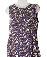 Wooden Ships Womens Shift Dress Sleeveless Purple Floral Print Sz Medium Pockets