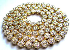 """Mens Hip Hop 14K Gold Plated Iced CZ Cluster Thick Heavy Chain Necklace 8mm 36"""""""