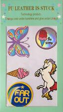 5 pcs PU Leather Sticker Patch Decal Unicorn Butterfly Pony DIY Phone Laptop