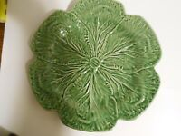 Vintage Bordallo  Pinhiero Green Cabbage  Leaf Platter~ Portugal