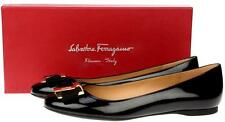 NEW SALVATORE FERRAGAMO NINNA BLACK PATENT LEATHER BOW FLATS SHOES 9 C