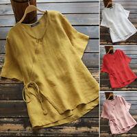 ZANZEA Women Short Sleeve T-Shirt Asymmetrical Plain Jumper Blouse Shirt Tops