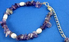 BOHO FASHION Amethyst & Freshwater Pearl Adjustable Bracelet LOVELY In Australia
