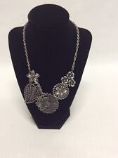 "Premier Designs ""Botanical"" Filigree Flower Leaf Antiqued Silver Tone Necklace"
