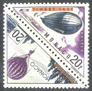 Monaco 386 Overprint Pair, Zeppelin & Balloon MH OG 1956