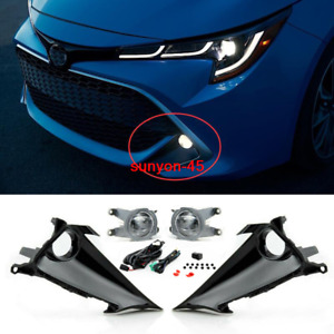 For toyota Corolla Hatchback 19-21 Front fog lamp Kit w/Bulb Switch Cable Bezel