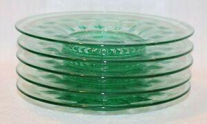 "Set of 5 Vintage Green Round 7.5"" Desert Serving Plate Platter, Scallop Design"