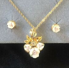 Vintage Avon White Pink Rose Earrings & Necklace Set Gold Tone