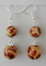 Dangle earrings - wood beads 11mm, 15mm rounds
