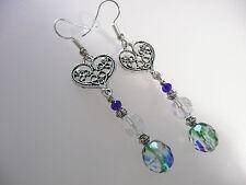 Vintage Deco Rare Iris Glass Czech Crystal & Filigree Heart Silver Long Earrings