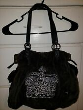 JUICY COUTURE HANDBAG PURSE BLACK VELOUR CROWN HOBO SHOULDER TOTE PREOWNED USED