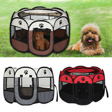 UK Large Portable Pet Dog Cat Playpen Tent Oxford Fabric Fence Kennel Cage Crate