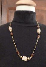 Collier chaine vintage métal doré et perles plastique de 65 cm