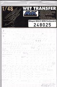 Hgw Mig-31 B/BS Foxhound A, Complet Commun Signalisations, Pochoir Decals 1/48