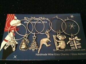 Wine Glass Charms - Set of 6 - Aussie Christmas (Kangaroo, Koala, Thongs, Tree)
