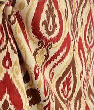 Raja Spice Ikat Damask Real Linen Drapery Fabric