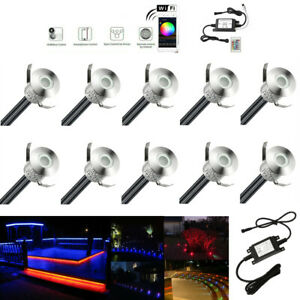 10X Smart Wifi RGB 22mm 12V Outdoor Yard Landscape LED Deck Stair Step Lights