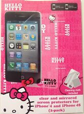 Hello Kitty Clear & Mirrored Screen Protectors for iPhone 4/4S 2 pack FREE SHIP