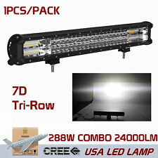 20inch 288W 7D+ LED WORK LIGHT BAR Off road Driving Combo Lamp 4WD Tri Row ATV