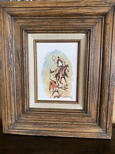 Jack JD Woods Taos Artist Cowboy Western Calf Roping Horse Oil Painting Framed