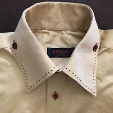 Men's Vintage Shirt Button Down 1970's Collar Medium Tan Gold/Brown Red Btns