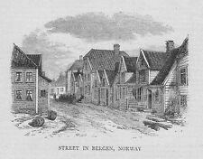 NORWAY Street in BERGEN - Antique Print 1870