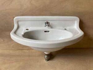 Antique Ceramic White Porcelain Half Round Bath Wall Sink Standard Vtg 604-20E