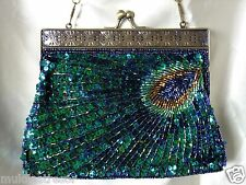 VINTAGE LOOK GREEN  PEACOCK FULLY HAND-SEWN BEADED EVENING PURSE/CLUTCH/BAG