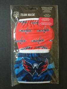 Washington Capitals Licensed 2 Pk Adult Face Mask Covering 50% Off SRP! FREE S&H