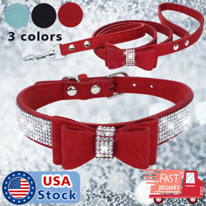 Pet Dog Collars Bling Rhinestone Sequins Necklace PU Leather Collar+Leash  S-XL