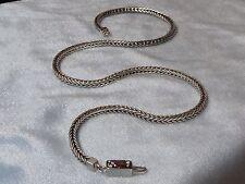 Vintage Sterling Java Chain Necklace,  Awesome Clasp w/ Garnet CZ, Konder #252